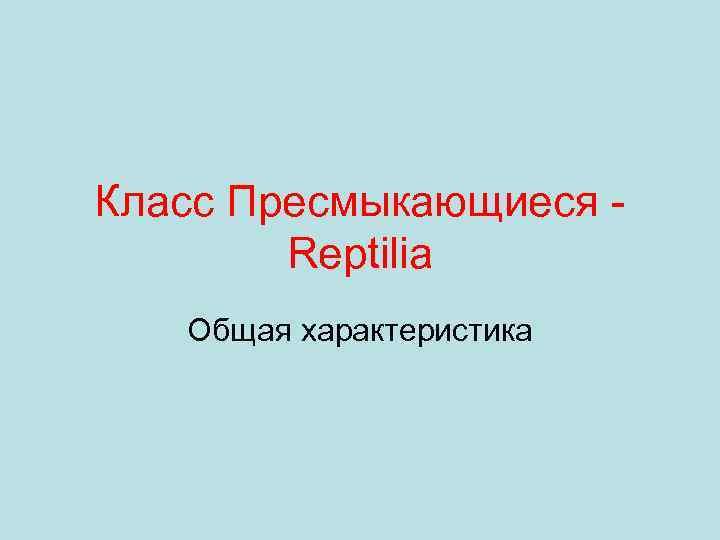 Класс Пресмыкающиеся Reptilia Общая характеристика