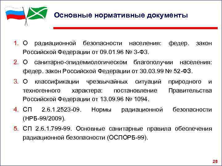 Основные нормативные документы 1. О радиационной безопасности населения: Российской Федерации от 09. 01. 96