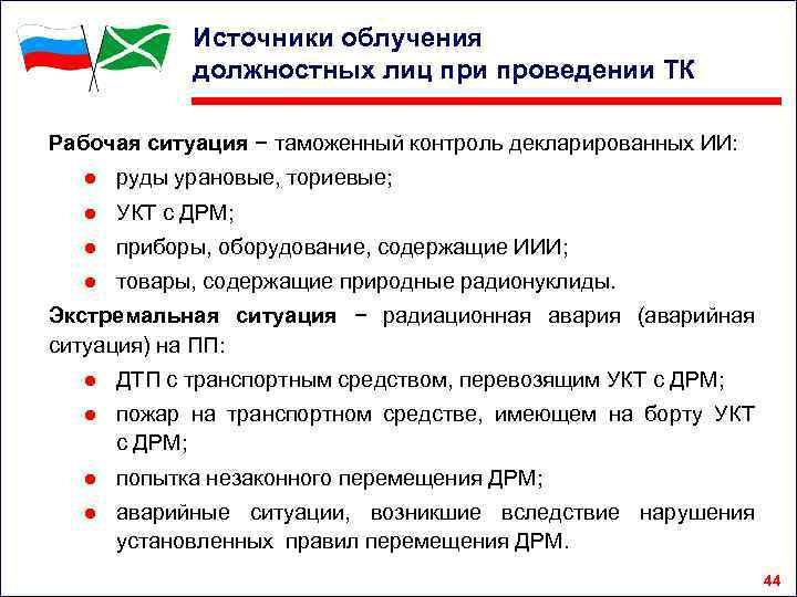 Источники облучения должностных лиц при проведении ТК Рабочая ситуация − таможенный контроль декларированных ИИ: