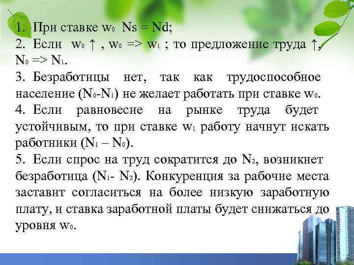 1. При ставке w 0 Ns = Nd; 2. Если w 0 ↑ ,