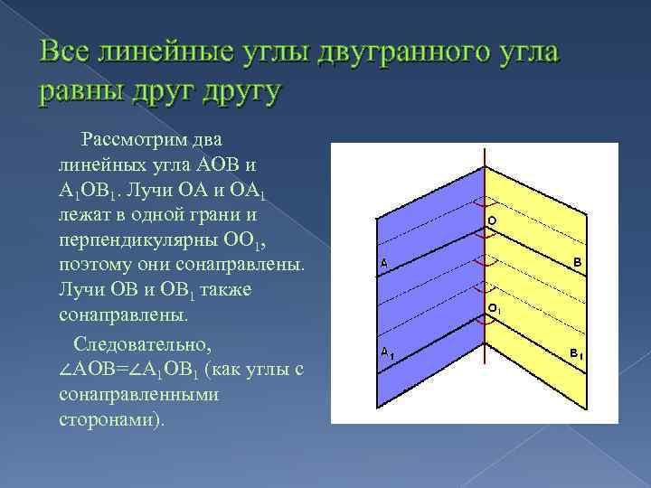 Все линейные углы двугранного угла равны другу Рассмотрим два линейных угла АОВ и А