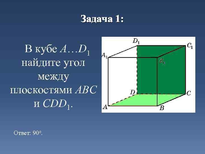Задача 1: В кубе A…D 1 найдите угол между плоскостями ABC и CDD 1.
