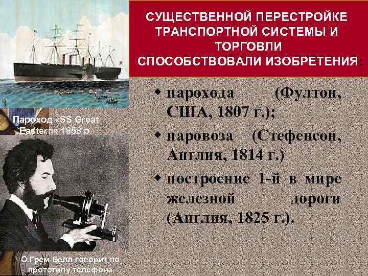 СУЩЕСТВЕННОЙ ПЕРЕСТРОЙКЕ ТРАНСПОРТНОЙ СИСТЕМЫ И ТОРГОВЛИ СПОСОБСТВОВАЛИ ИЗОБРЕТЕНИЯ: Пароход «SS Great Eastern» 1858 р.