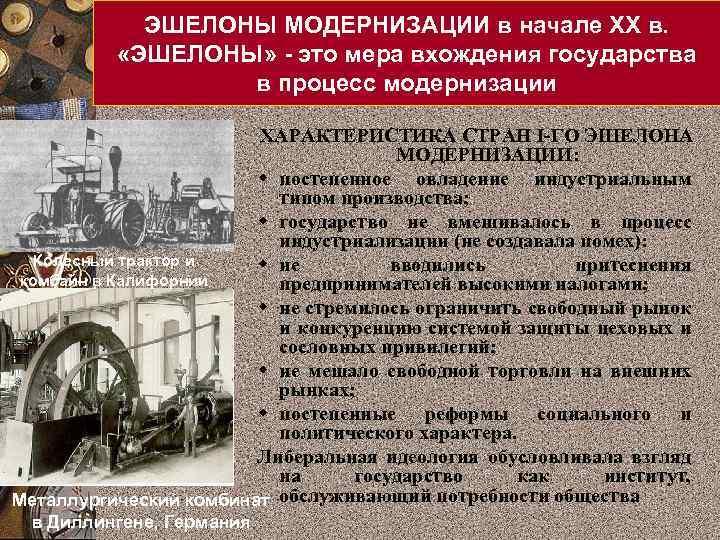 ЭШЕЛОНЫ МОДЕРНИЗАЦИИ в начале XX в. «ЭШЕЛОНЫ» - это мера вхождения государства в процесс