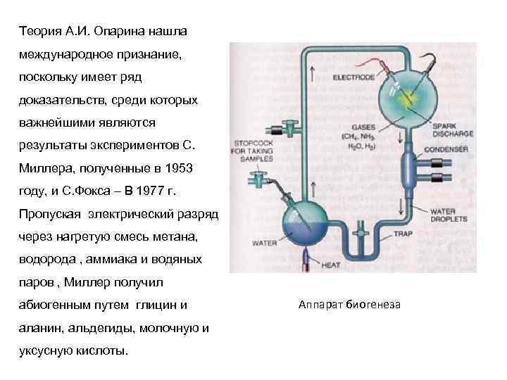 Теория А. И. Опарина нашла международное признание, поскольку имеет ряд доказательств, среди которых важнейшими