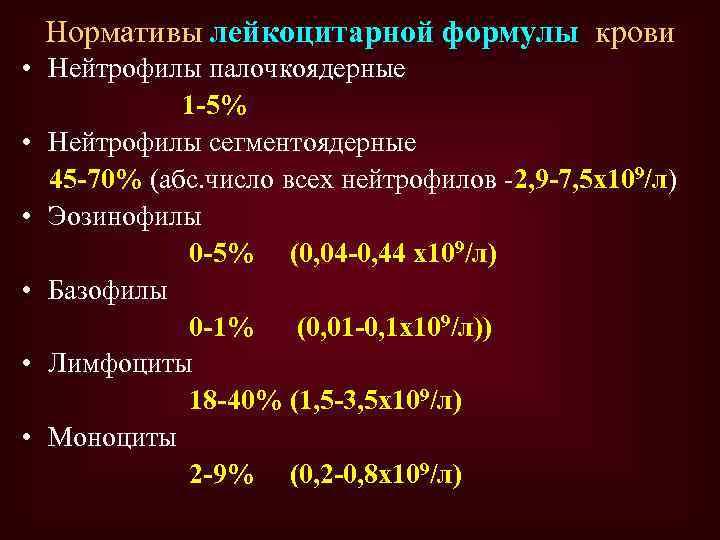 Нормативы лейкоцитарной формулы крови • Нейтрофилы палочкоядерные 1 -5% • Нейтрофилы сегментоядерные 45 -70%