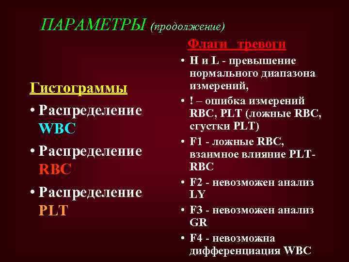 ПАРАМЕТРЫ (продолжение) Флаги тревоги Гистограммы • Распределение WBC • Распределение RBC • Распределение PLT