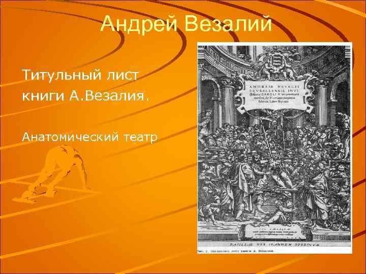 Андрей Везалий Титульный лист книги А. Везалия. Анатомический театр