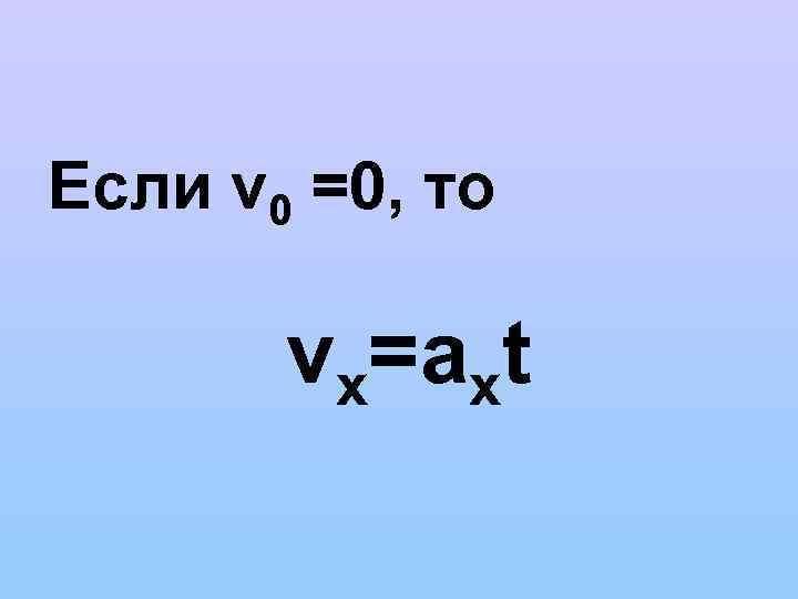Если v 0 =0, то vх=aхt