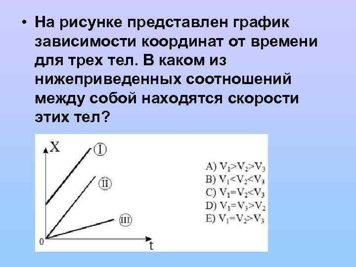 • На рисунке представлен график зависимости координат от времени для трех тел. В