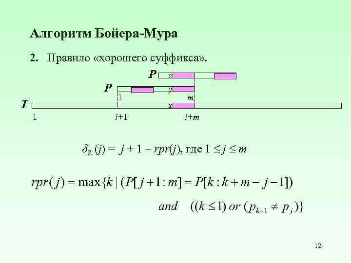 Алгоритм Бойера-Мура 2. Правило «хорошего cуффикса» . P z y P 1 T 1