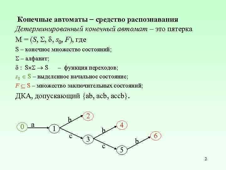Конечные автоматы средство распознавания Детерминированный конечный автомат – это пятерка M = (S, ,