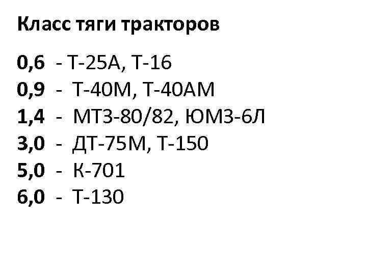 Класс тяги тракторов 0, 6 - Т-25 А, Т-16 0, 9 - Т-40 М,