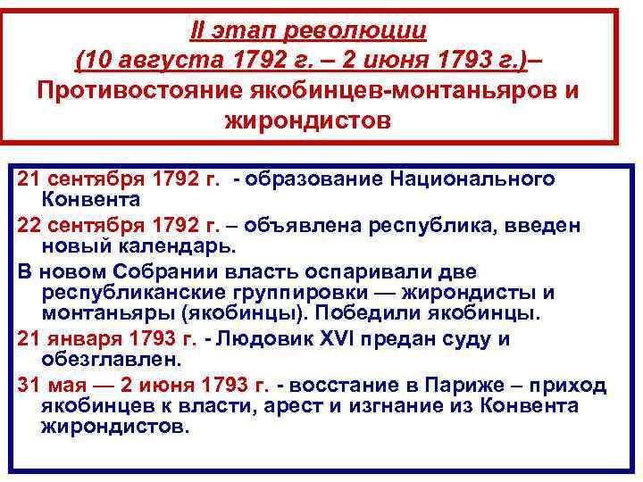 II этап революции (10 августа 1792 г. – 2 июня 1793 г. )– Противостояние