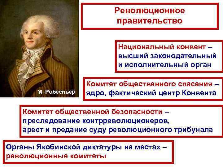 Революционное правительство Национальный конвент – высший законодательный и исполнительный орган М. Робеспьер Комитет общественного