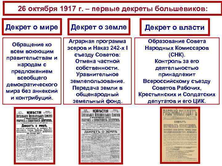 26 октября 1917 г. – первые декреты большевиков: Декрет о мире Декрет о земле