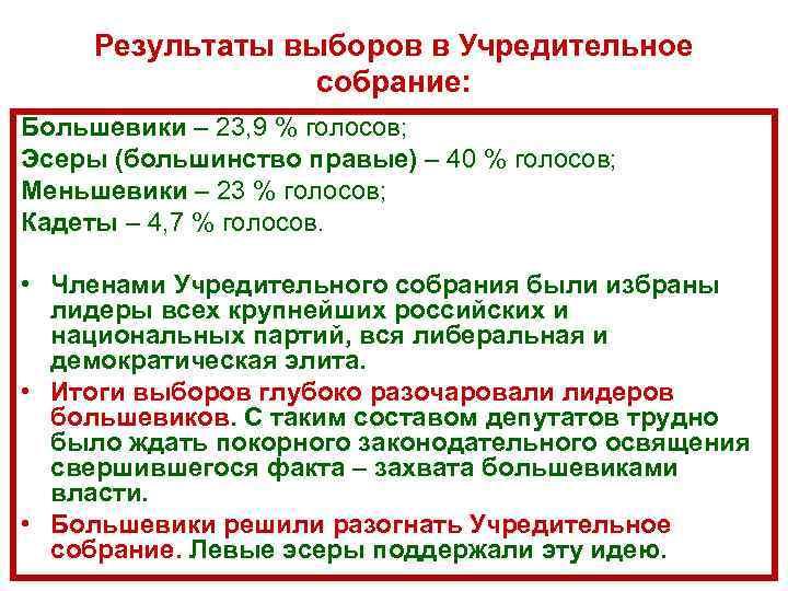 Результаты выборов в Учредительное собрание: Большевики – 23, 9 % голосов; Эсеры (большинство правые)
