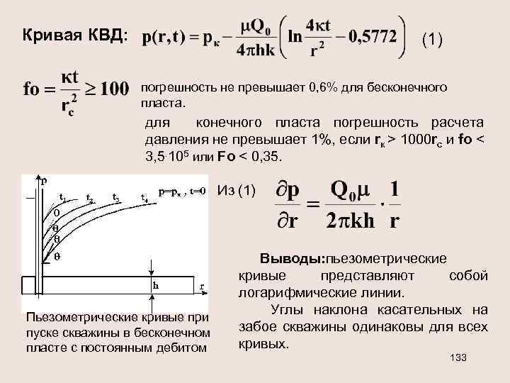 Кривая КВД: (1) погрешность не превышает 0, 6% для бесконечного пласта. для конечного пласта