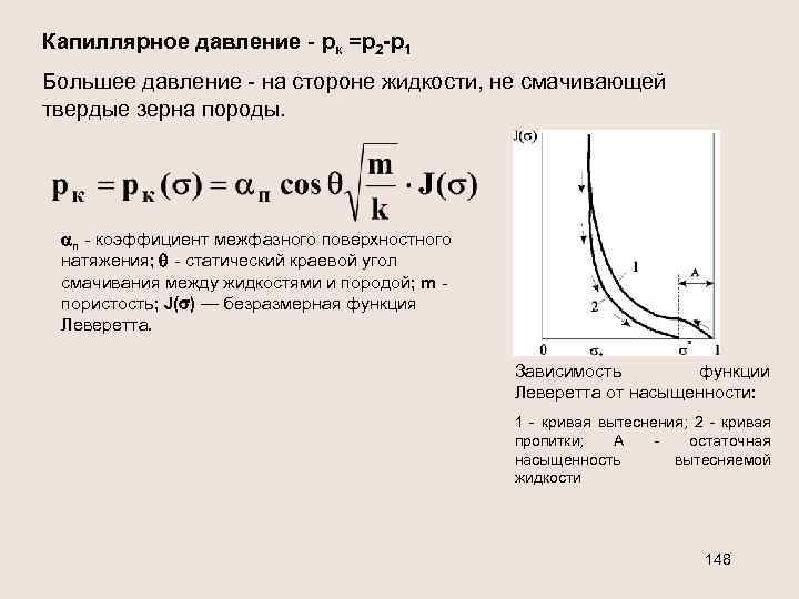 Капиллярное давление - рк =р2 -р1 Большее давление - на стороне жидкости, не смачивающей