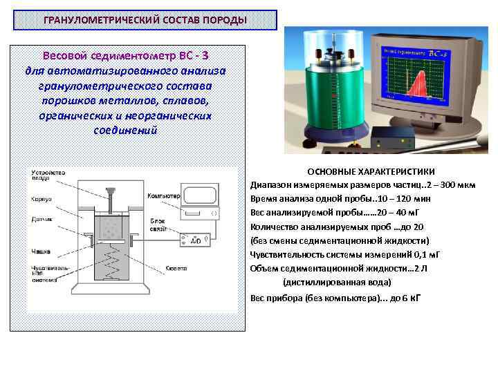 ГРАНУЛОМЕТРИЧЕСКИЙ СОСТАВ ПОРОДЫ Весовой седиментометр ВС - 3 для автоматизированного анализа гранулометрического состава порошков