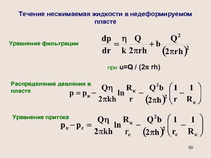 Течение несжимаемая жидкости в недеформируемом пласте Уравнение фильтрации при u=Q / (2 rh) Распределение
