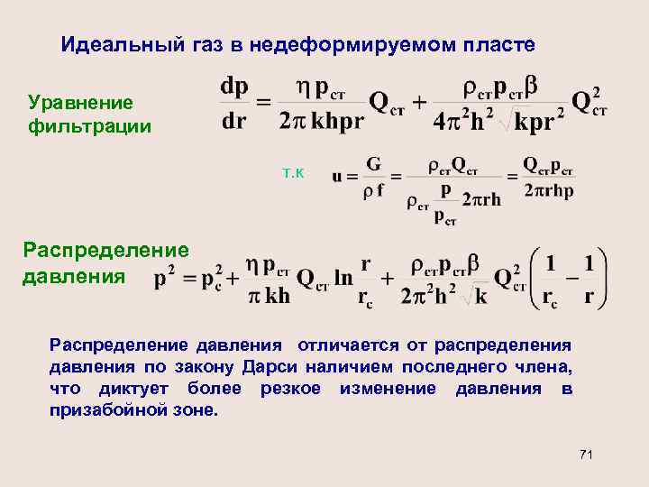 Идеальный газ в недеформируемом пласте Уравнение фильтрации т. к Распределение давления отличается от распределения