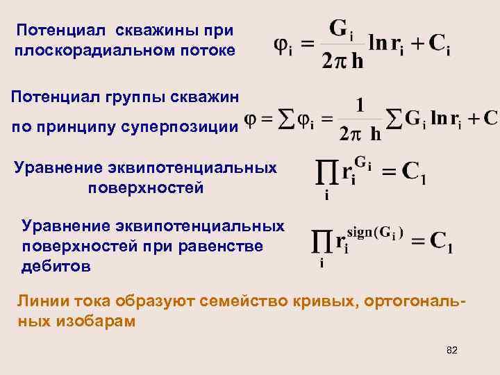 Потенциал скважины при плоскорадиальном потоке Потенциал группы скважин по принципу суперпозиции Уравнение эквипотенциальных поверхностей