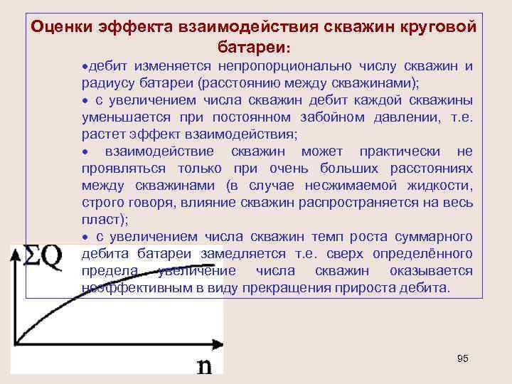 Оценки эффекта взаимодействия скважин круговой батареи: ·дебит изменяется непропорционально числу скважин и радиусу батареи