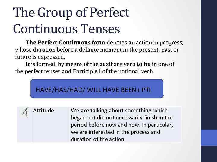 The Group of Perfect Continuous Tenses The Perfect Continuous form denotes an action in