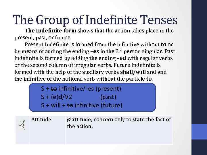 The Group of Indefinite Tenses The Indefinite form shows that the action takes place