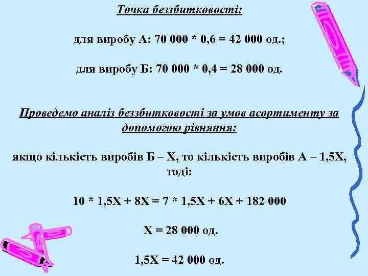 Точка беззбитковості: для виробу А: 70 000 * 0, 6 = 42 000 од.