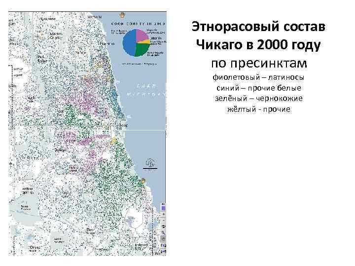 Этнорасовый состав Чикаго в 2000 году по пресинктам фиолетовый – латиносы синий – прочие