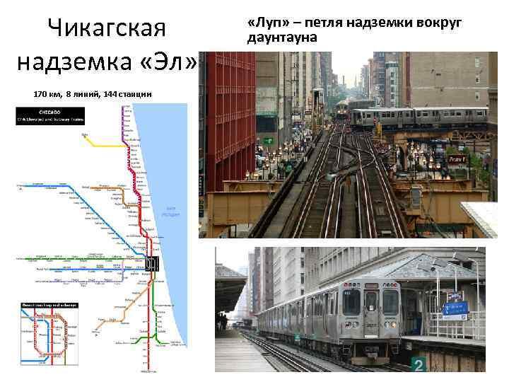 Чикагская надземка «Эл» 170 км, 8 линий, 144 станции «Луп» – петля надземки вокруг