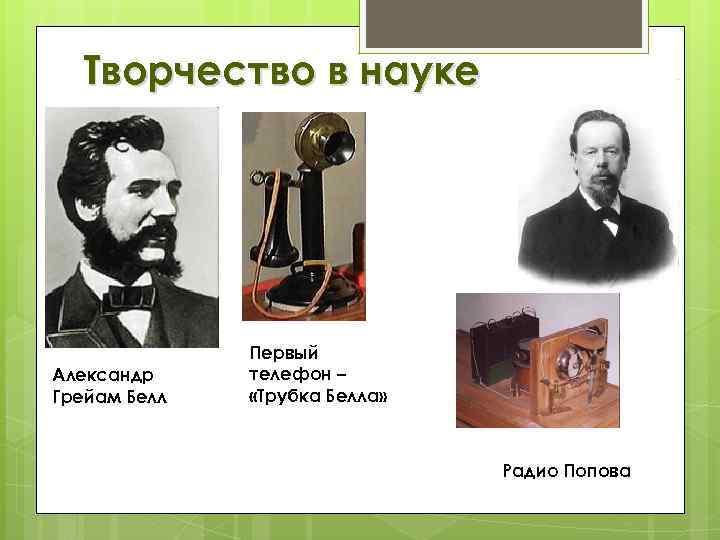 Творчество в науке Александр Грейам Белл Первый телефон – «Трубка Белла» Радио Попова