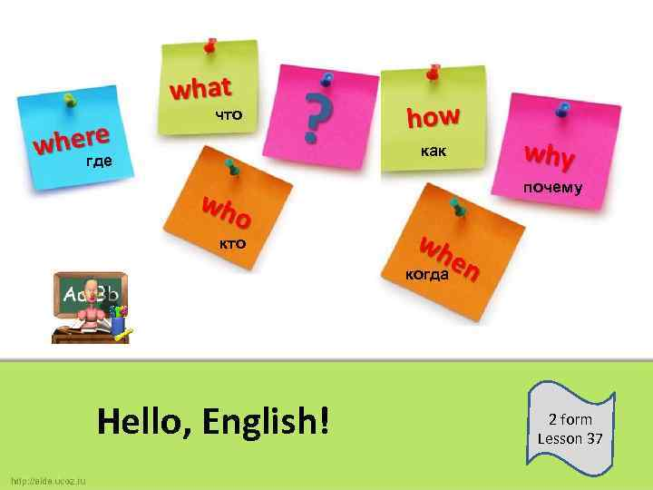 что как где почему кто когда Hello, English! 2 form Lesson 37