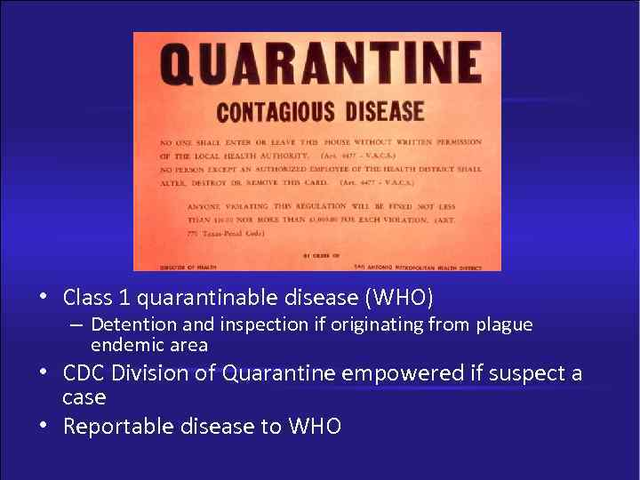 laws on contagious disease quarantine essay The contagious diseases acts of 1864, 1866, and 1869 provide a fine political example of the law of unintended circumstances: legislation intended to protect members of the first, approximately a third of the armed forces contracted venereal diseases, and, second, men resorted to homosexual practices.