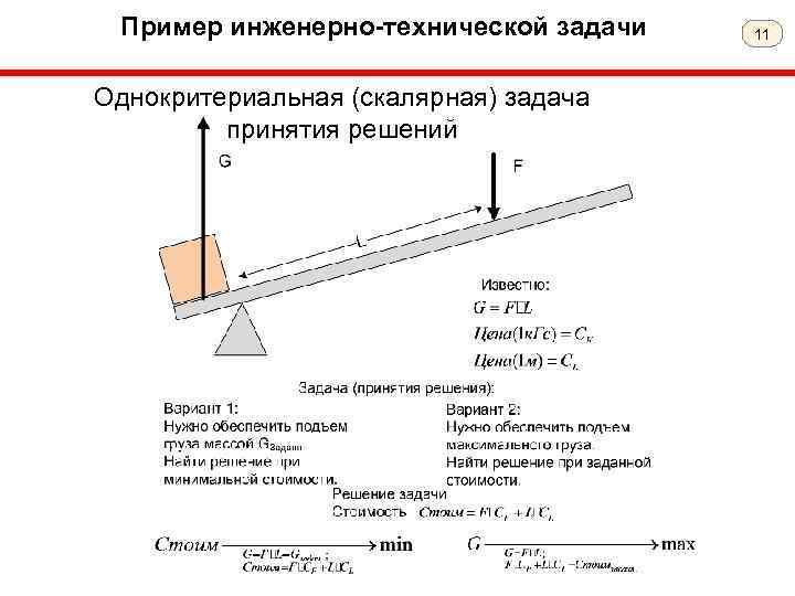 Пример инженерно-технической задачи Однокритериальная (скалярная) задача принятия решений 11