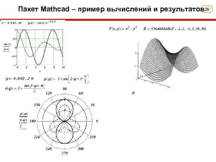 Пакет Mathcad – пример вычислений и результатов 29