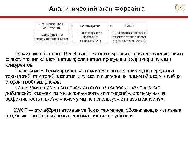 Аналитический этап Форсайта 52 Бенчмаркинг (от англ. Benchmark – отметка уровня) – процесс оценивания