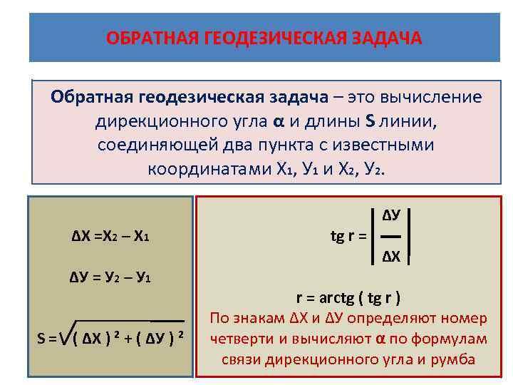 ОБРАТНАЯ ГЕОДЕЗИЧЕСКАЯ ЗАДАЧА Обратная геодезическая задача – это вычисление дирекционного угла α и длины