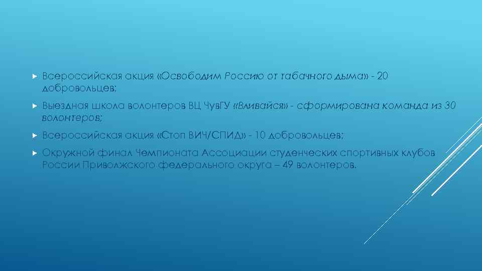 Всероссийская акция «Освободим Россию от табачного дыма» - 20 добровольцев; Выездная школа волонтеров