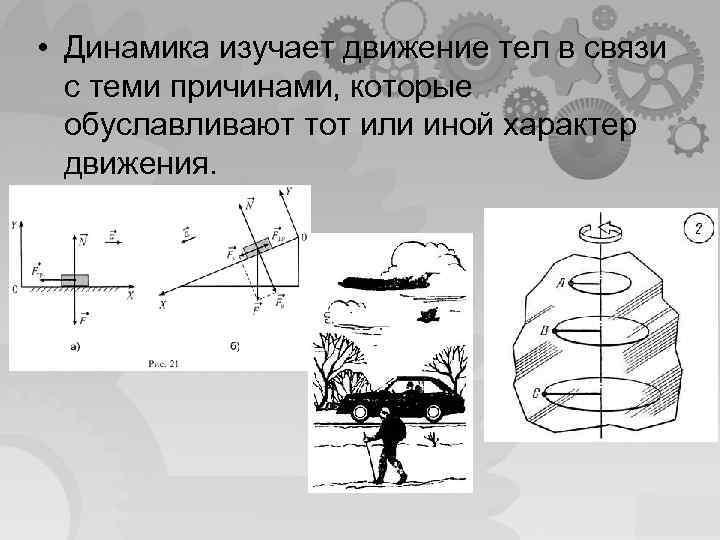 • Динамика изучает движение тел в связи с теми причинами, которые обуславливают тот