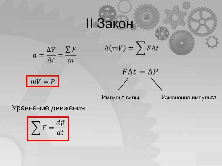 II Закон Импульс силы Уравнение движения Изменение импульса