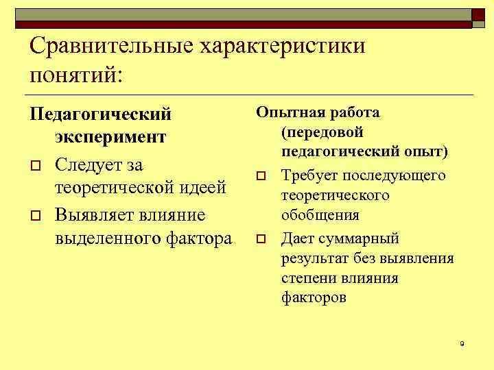 Сравнительные характеристики понятий: Педагогический эксперимент o Следует за теоретической идеей o Выявляет влияние выделенного