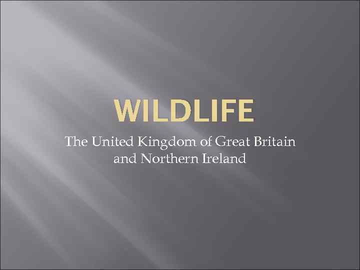 WILDLIFE The United Kingdom of Great Britain and Northern Ireland