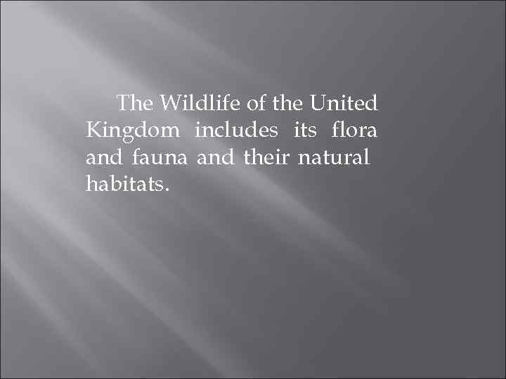 The Wildlife of the United Kingdom includes its flora and fauna and their natural