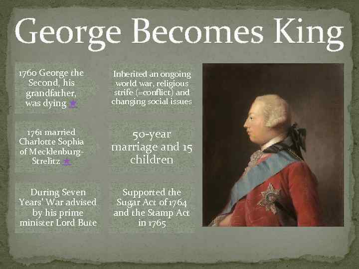 George Becomes King 1760 George the Second, his grandfather, was dying ★ Inherited an