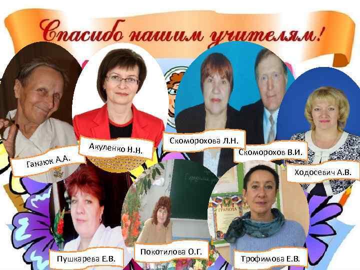 . зюк А. А Акуленко Н. Н . Скоморохова Л. Н. Ган Пушкарева Е.