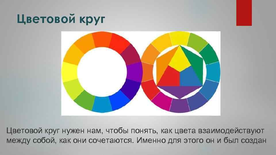 Цветовой круг нужен нам, чтобы понять, как цвета взаимодействуют между собой, как они сочетаются.