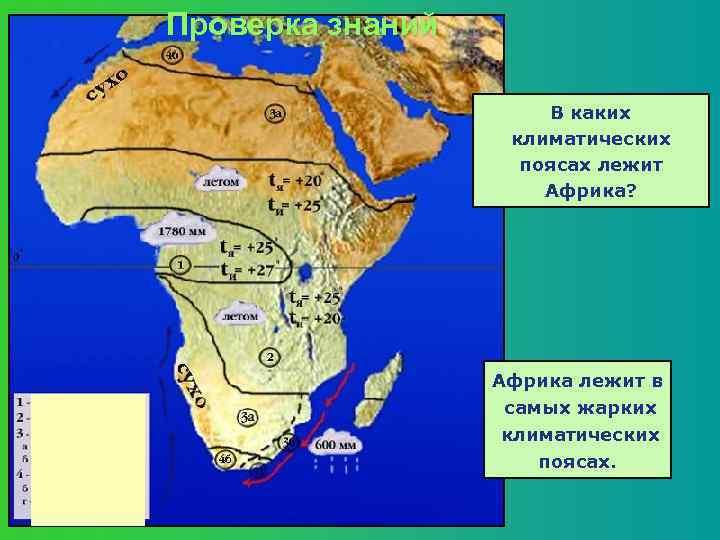 Проверка знаний В каких климатических поясах лежит Африка? Африка лежит в самых жарких климатических